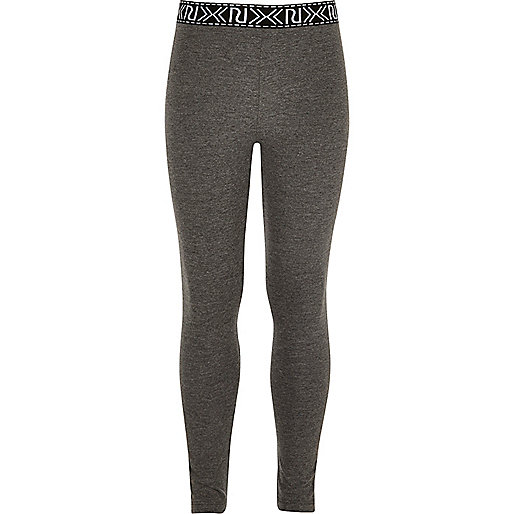Girls grey branded legging