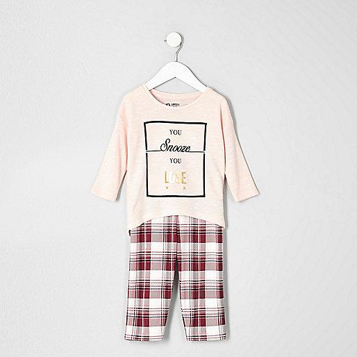 Mini girls pink top check leggings pyjama set