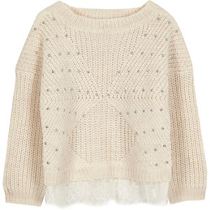 Mini girls cream knit embellished lace jumper