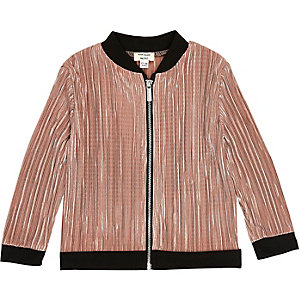 Mini girls metallic pink plisse bomber jacket