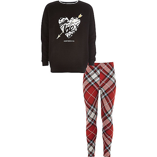 Girls black sweatshirt check leggings set