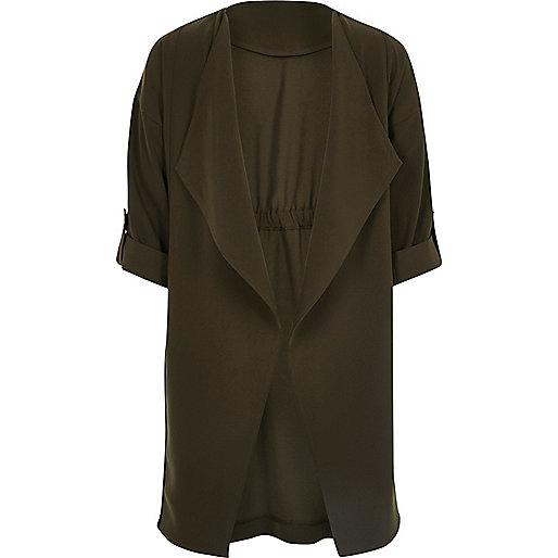 Girls khaki green duster jacket