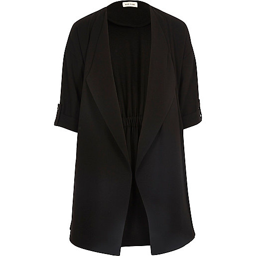 Girls black duster jacket