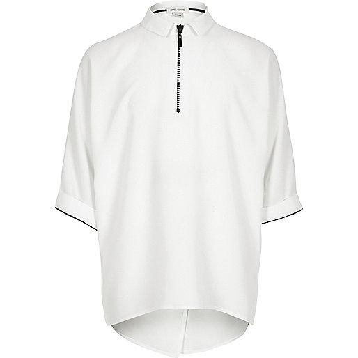 Girls white relaxed zip shirt