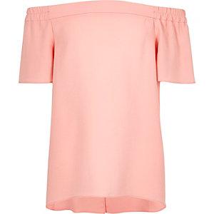 Girls blush pink bardot top