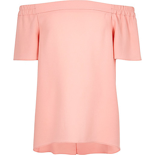 Girls blush pink bardot top