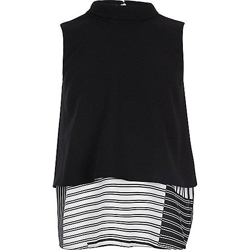 Girls black double layer vest