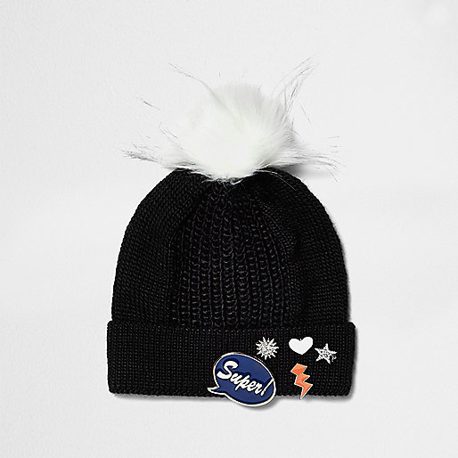 Girls black knit badge bobble hat