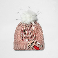 Girls pink knit badge bobble hat