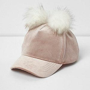 Blush pink velvet pom pom cap