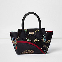 Cabas forme trapèze imprimé style oriental noir pour fille