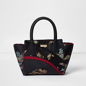 Girls black oriental print winged tote bag