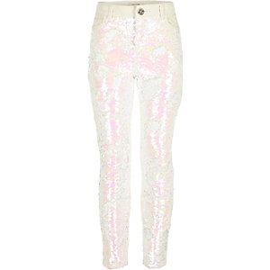 Weiße Amelie-Skinny-Jeans mit Pailletten