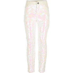 Girls white sequin Amelie skinny jeans