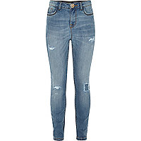 Girls mid blue wash ripped jeggings