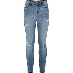 Jeggings im Used-Look in mittelblauer Waschung