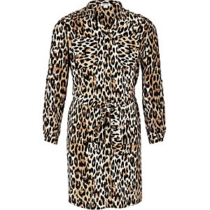 Girls leopard print shirt dress