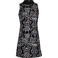 Girls black embroidered turtleneck dress
