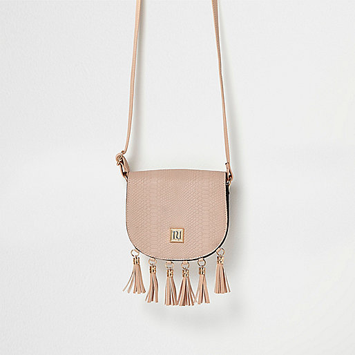 Girls pink tassel cross body bag