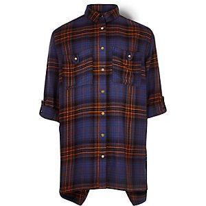 Girls orange and blue check shirt