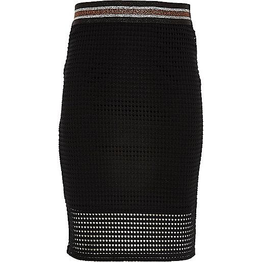 Girls black mesh tube skirt