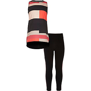 Girls black colour block top and leggings set