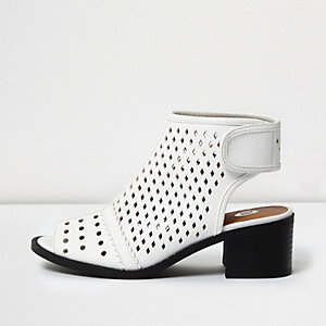 Girls white laser cut shoe boots