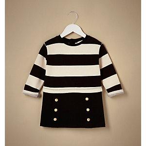 Schwarzes, gestreiftes 2-in-1-Kleid