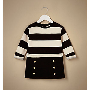 Mini girls black stripe 2 in 1 dress
