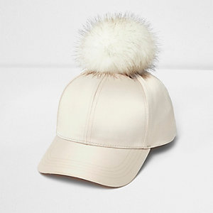 Girls cream satin pom pom cap
