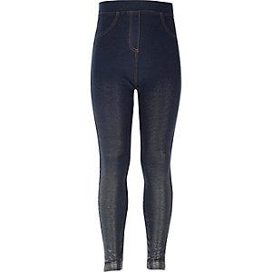 Metallic-Leggings im Jeans-Look mit hohem Bund
