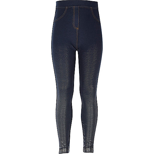Girls denim look metallic high rise leggings