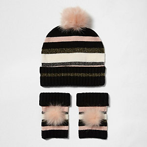 Girls pink stripe bobble hat and handwarmers