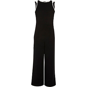Girls black and white tipped jumpsuit
