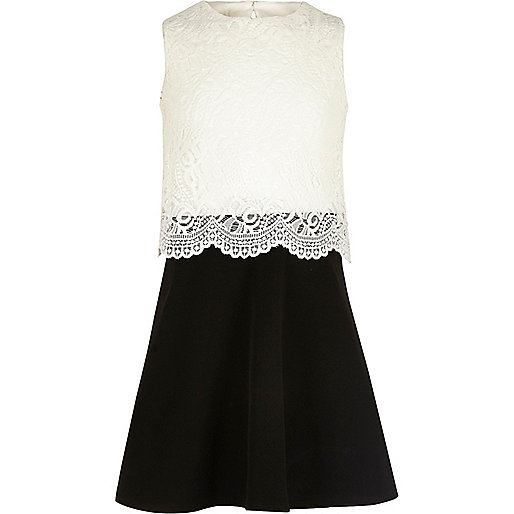 Girls black and white lace layered dress