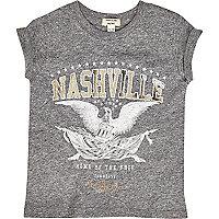 Mini girls grey Nashville print T-shirt