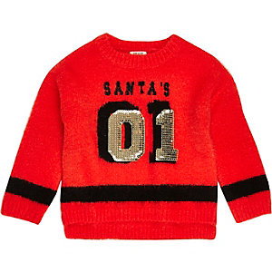 Mini girls red knit sequin Christmas jumper