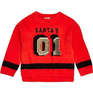 Pull de Noël en maille rouge à sequins mini fille