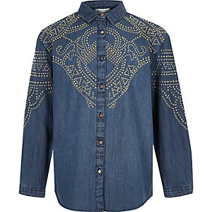 Girls blue stud denim shirt