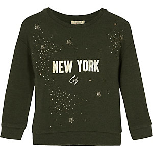 Mini girls khaki green glitter sweatshirt