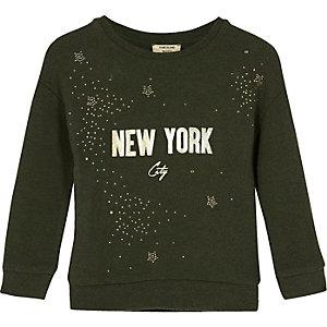Mini girls khaki green glitter sweatshirt