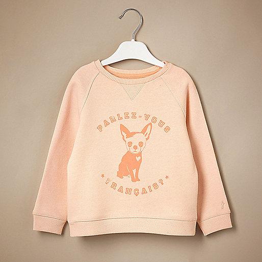 Mini girls dog print jumper