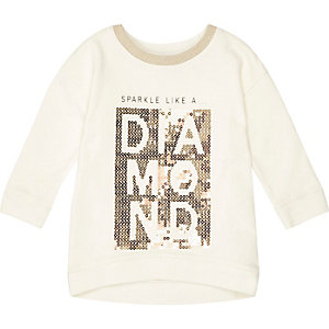 Mini girls cream sequin print sweatshirt
