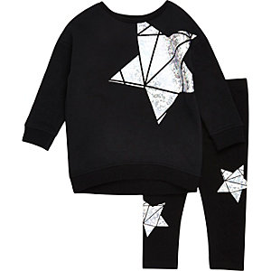 Mini girls black metallic star sweat set