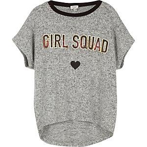 Girls grey 'Girl Squad' print T-shirt