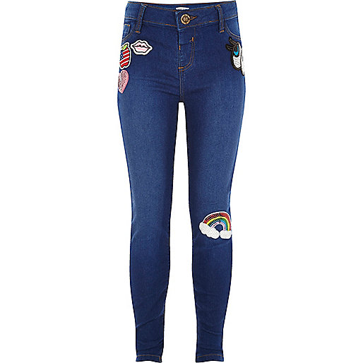 Girls blue jegging with badge detail
