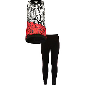 Girls black print trapeze top leggings set