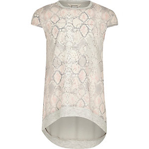 Girls pink trapeze print T-shirt