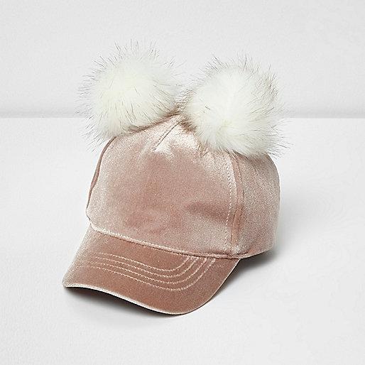 Mini girls blush pink velvet pom pom cap