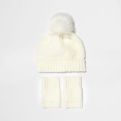 Mini girls cream bobble hat and handwarmers - baby girls accessories - mini g...